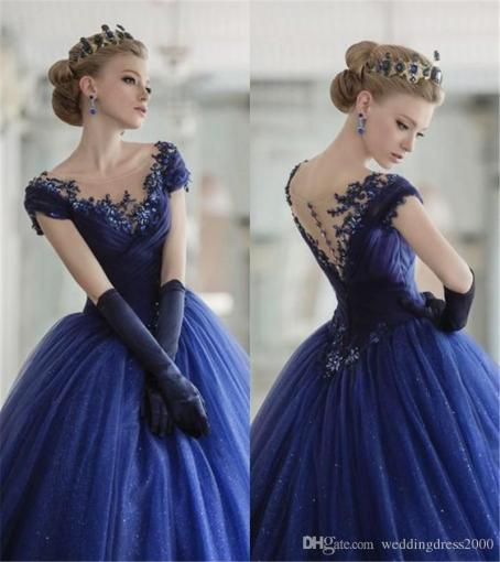 Royal Blue Shiny Snow Tulle Gorgeous Princess Long Prom Dresses     Royal Blue Shiny Snow Tulle Gorgeous Princess Long Prom Dresses Scoop  Neckline Leeveless Ball Gown Embroider Evening Dress Designer Prom Dresses  Uk Dylan