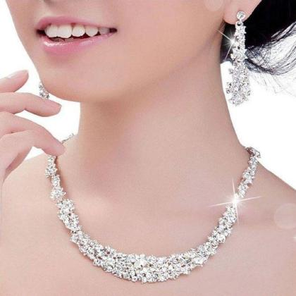 2016 Crystal Bridal Jewelry Set Silver Plated Necklace Diamond     2016 Crystal Bridal Jewelry Set Silver Plated Necklace Diamond Earrings  Wedding Jewelry Sets For Bride Bridesmaids Women Bridal Accessories Black  Diamond