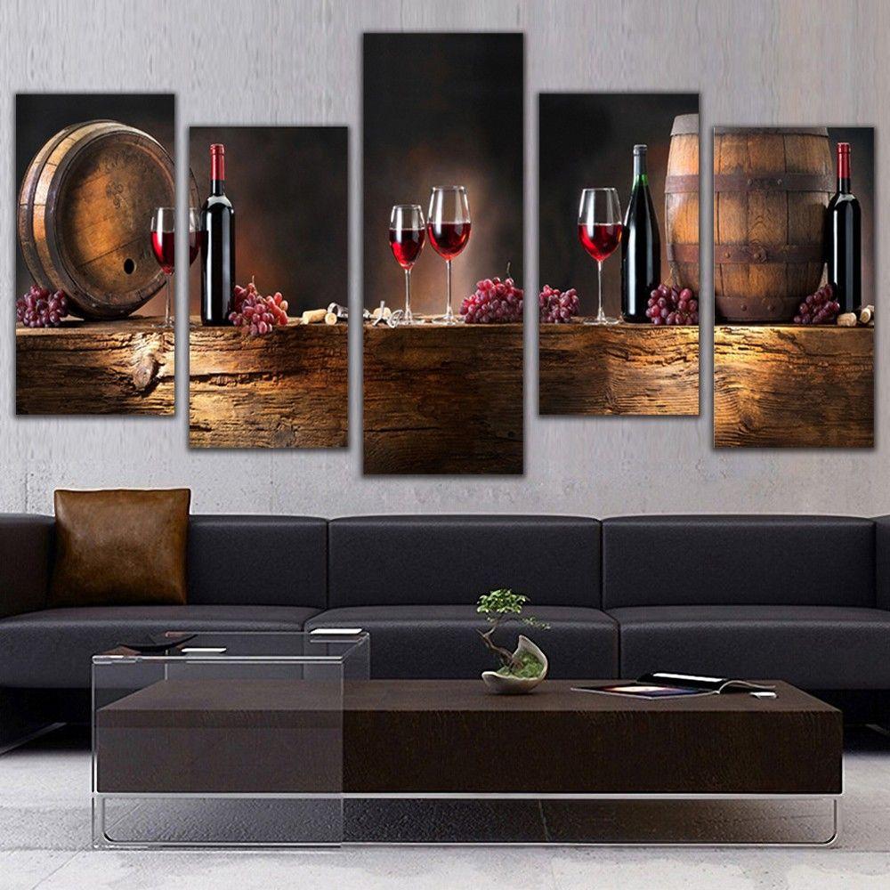 Best Kitchen Gallery: Online Cheap 5 Panel Wall Art Fruit Grape Red Wine Glass Picture Art of Modern Art For Kitchen on rachelxblog.com