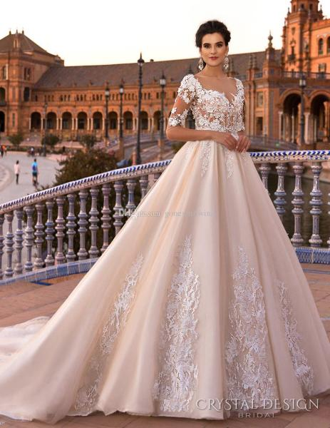 Blush Royal Train Princess Ball Gown A Line Wedding Dresses 2017     Blush Royal Train Princess Ball Gown A Line Wedding Dresses 2017 Crystal  Design Bridal Half Sleeves Sweetheart Neckline Low Back Bridal Boutique  Bride