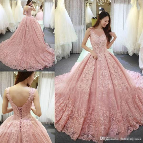 Discount Vintage Blush Pink Lace Floral Princess Wedding Dresses     Discount Vintage Blush Pink Lace Floral Princess Wedding Dresses 2018  Modest V Neck Sweep Train Lace Up Sheer Jewel Garden Outdoor Bridal Dress  Bridal