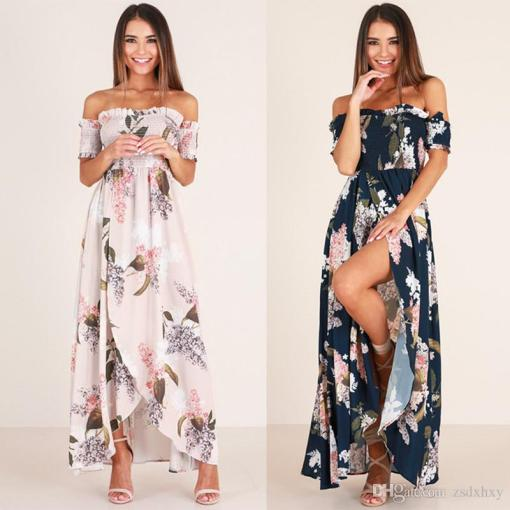 Beach Dress Tunic Boho Style 2018 Long Maxi Beach Summer Dress     Beach Dress Tunic Boho Style 2018 Long Maxi Beach Summer Dress Fashion Nova  Large Size Slash Neck Split Peplum Print Sexy Dresses Party Long Red Dress