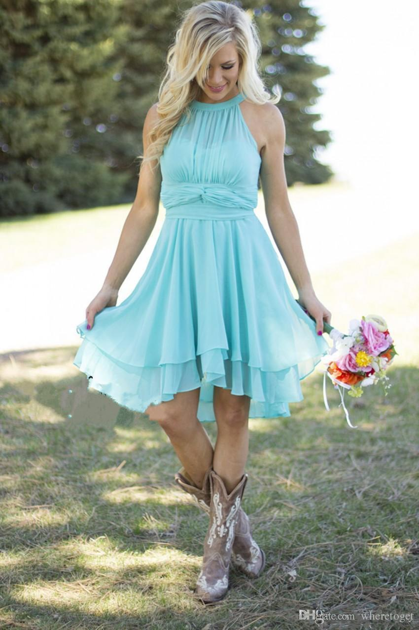 Sexy Short Country Style Turquoise Bridesmaid Dresses Crew