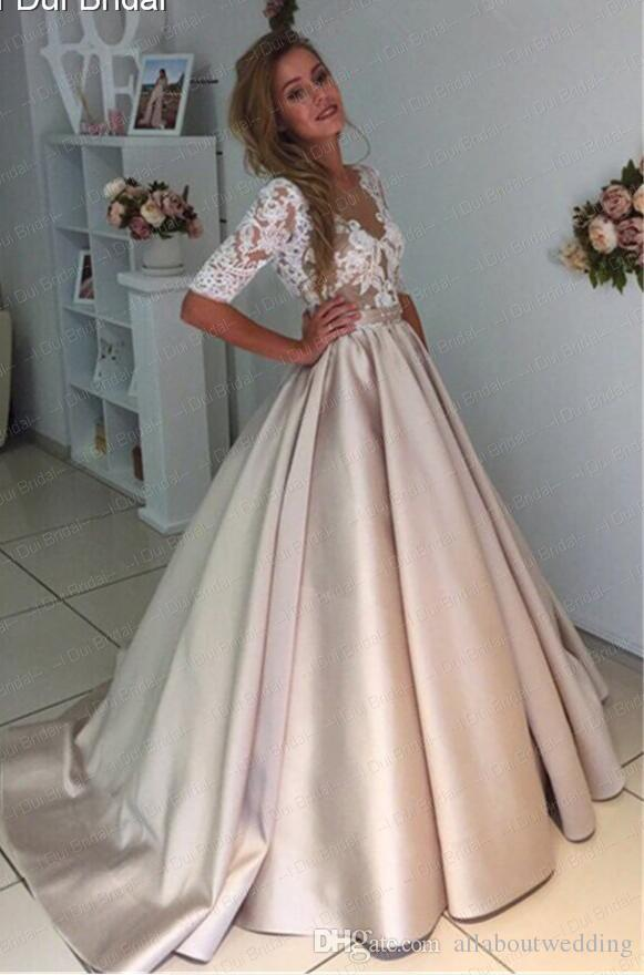 Long Beaded White Long Sleeve Dress