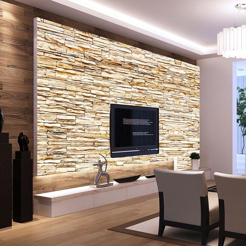 Großhandel Non Woven Mode 3d Stein Ziegel Tapeten Wandbild Für