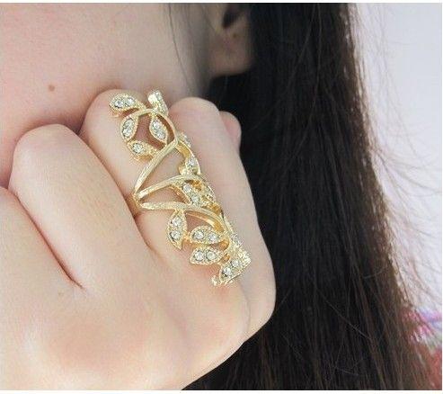 Hot Sale Gold Rings Long Blingbling Flowers Rhinestones Wedding Ring For Women Rose Gold Rings