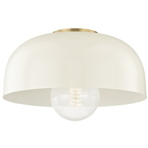 HUDH199501LAGBCR Avery Semi Flush Mount Ceiling Light   Aged Brass     HUDH199501LAGBCR Avery Semi Flush Mount Ceiling Light   Aged Brass Cream