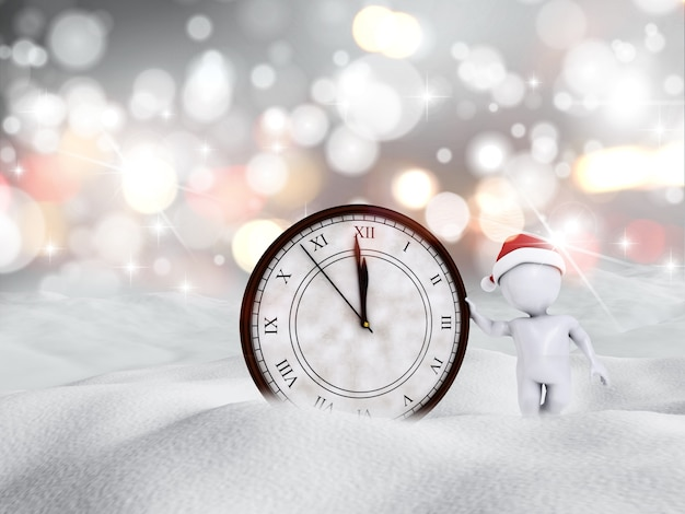 Happy new year clock in the snow Photo   Free Download Happy new year clock in the snow Free Photo