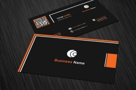 Business card template with black background PSD file   Free Download Business card template with black background Free Psd