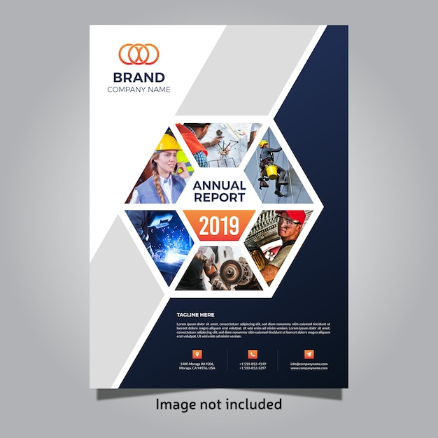 2019 business annual report cover template Vector ...