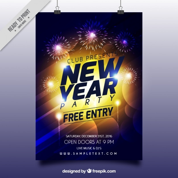 Bright new year abstract poster Vector   Free Download Bright new year abstract poster Free Vector