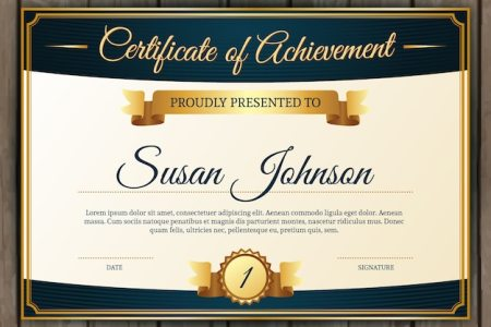 Certificate of achievement with classic golden elements Vector     Certificate of achievement with classic golden elements Free Vector
