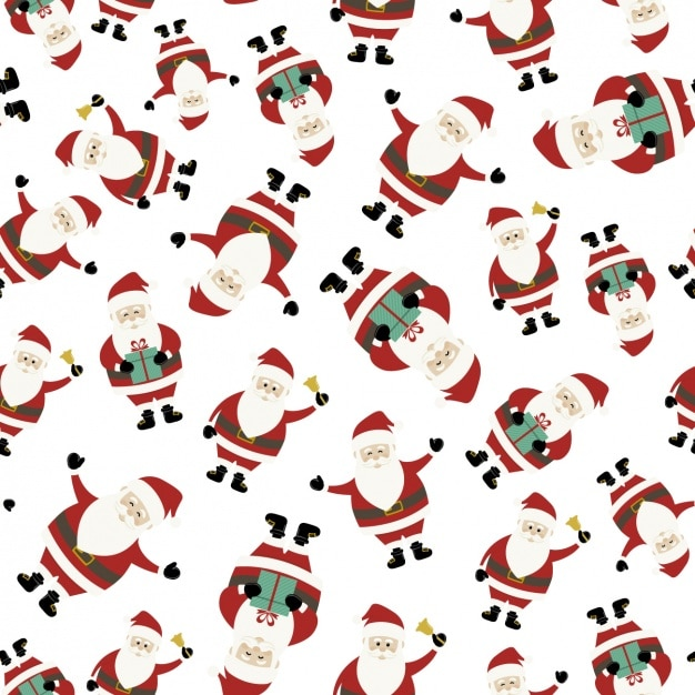 Cute christmas background with santa claus in different ...