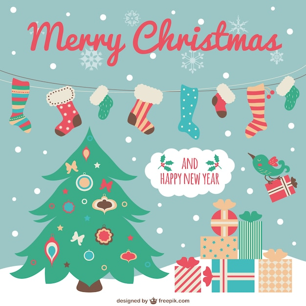 Cute christmas card with cartoons Vector   Free Download