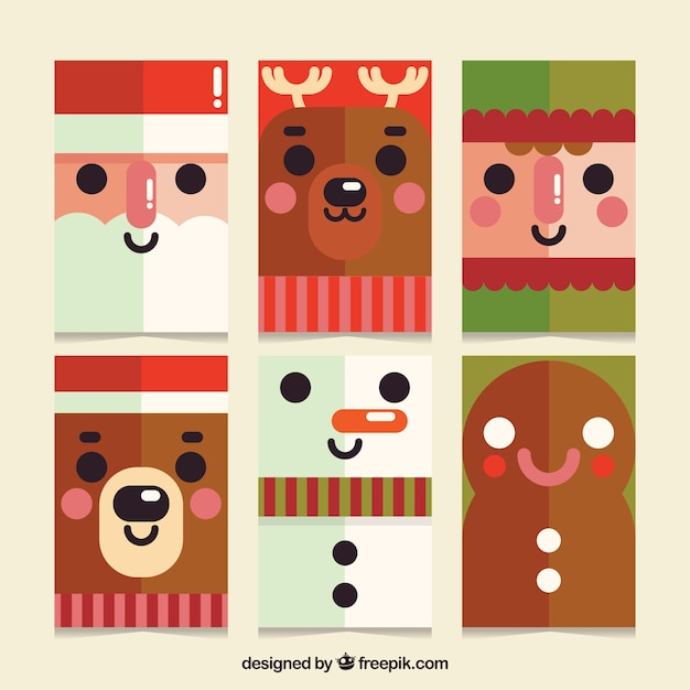 Cute christmas cards with flat design Vector   Free Download