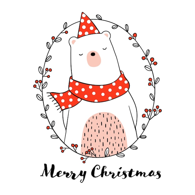 Draw cute bear in wreath for Christmas day Vector ...