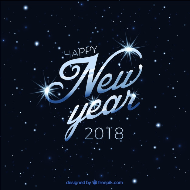 Elegant background of happy new year 2018 with stars Vector   Free     Elegant background of happy new year 2018 with stars Free Vector