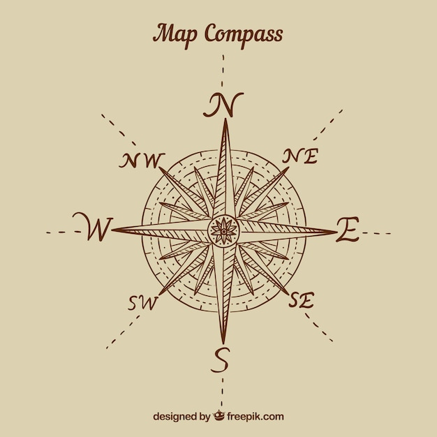 Flat map compass background Vector   Free Download Flat map compass background Free Vector