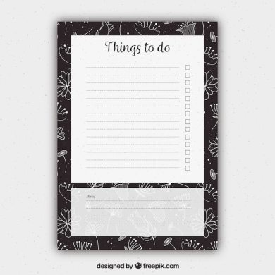 Floral to do list template Vector   Free Download Floral to do list template Free Vector