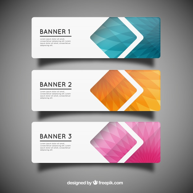 Geometric banner templates Vector   Free Download Geometric banner templates Free Vector