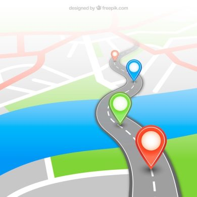 Gps map with pins Vector   Free Download Gps map with pins Free Vector