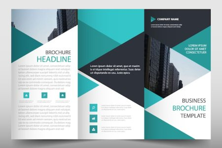 Green trifold business brochure template with triangular shapes     Green trifold business brochure template with triangular shapes Free Vector