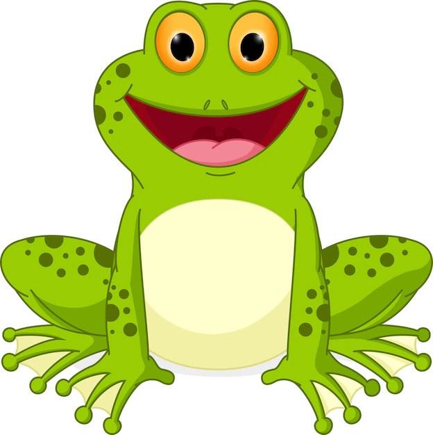 Happy frog cartoon Vector | Premium Download