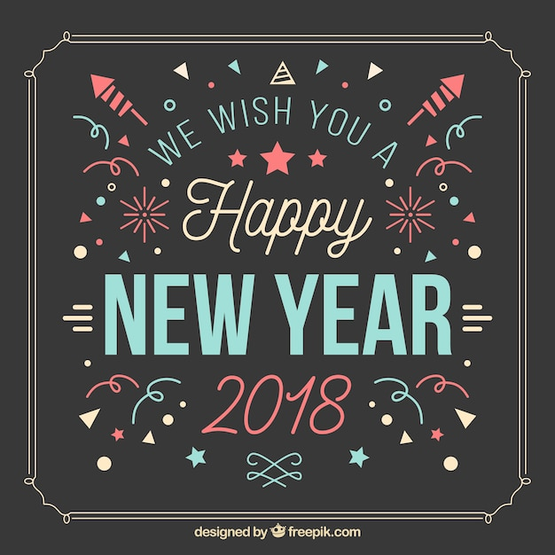 Happy new year vintage background with confetti and fireworks Vector     Happy new year vintage background with confetti and fireworks Free Vector