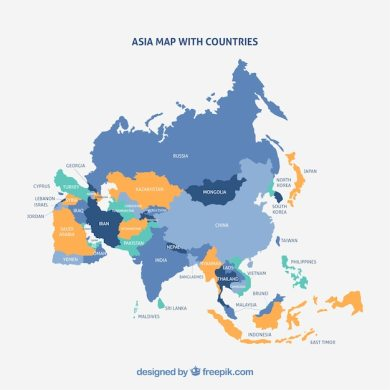 Map of asia continent with different colors Vector   Free Download Map of asia continent with different colors Free Vector