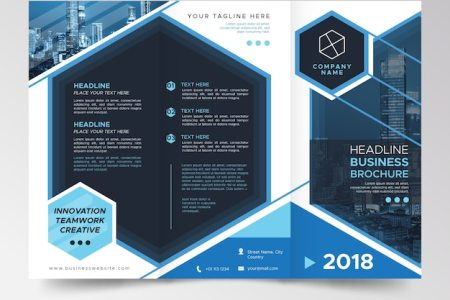 Modern blue trifold brochure template Vector   Free Download Modern blue trifold brochure template Free Vector
