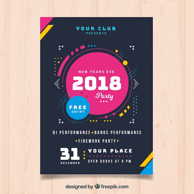 Modern poster of new year 2018 Vector   Free Download Modern poster of new year 2018 Free Vector