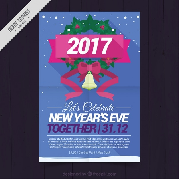 Poster for the 2017 new year s party Vector   Free Download Poster for the 2017 new year s party Free Vector