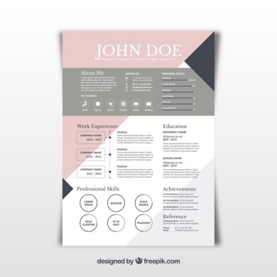 Pretty abstract resume template Vector   Free Download Pretty abstract resume template Free Vector