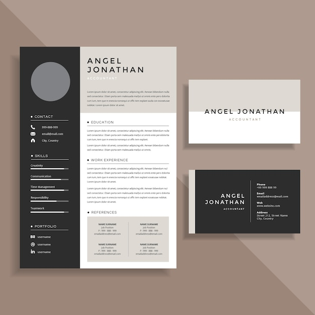 Professional Resume CV and Business Card Template Design Set Vector     Professional Resume CV and Business Card Template Design Set Premium Vector