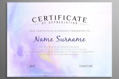 Purple certificate of appreciation template Vector   Free Download Purple certificate of appreciation template Free Vector