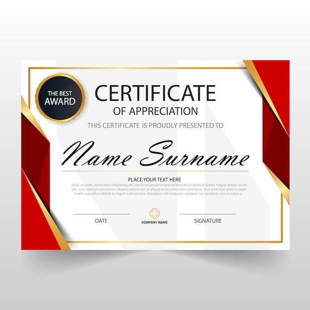 Red horizontal certificate template Vector | Free Download