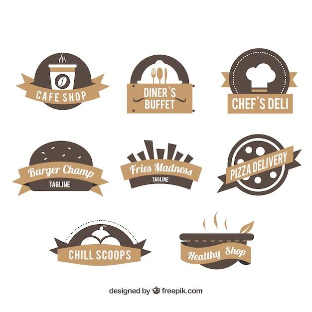 Restaurant logos, brown colors Vector | Free Download