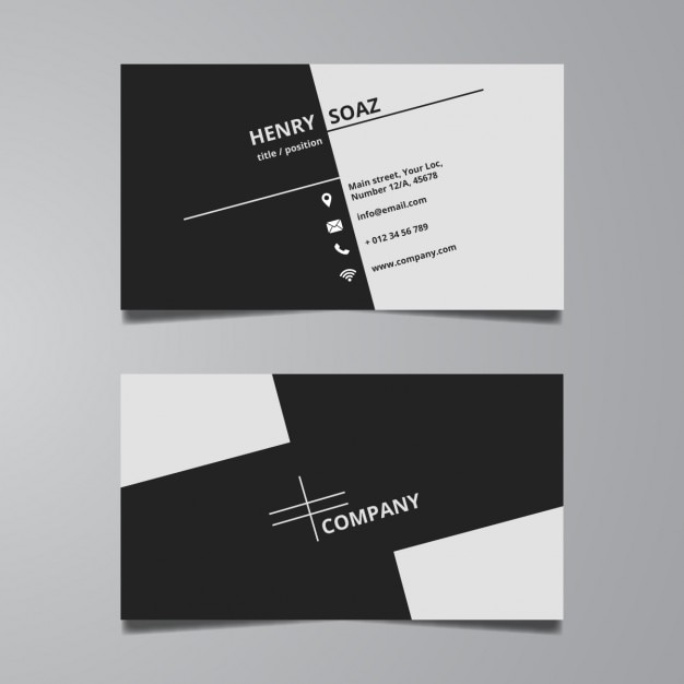 Simple black and white business card template Vector   Free Download Simple black and white business card template Free Vector