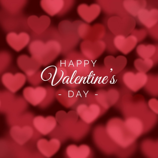 Valentines day background with blurred hearts Vector ...