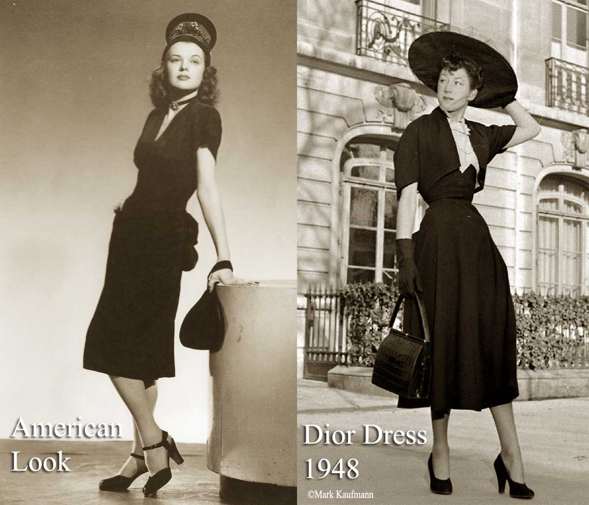1940 s Fashion   Womens Dress Style after the War 1940s post war fashion   America vs Paris