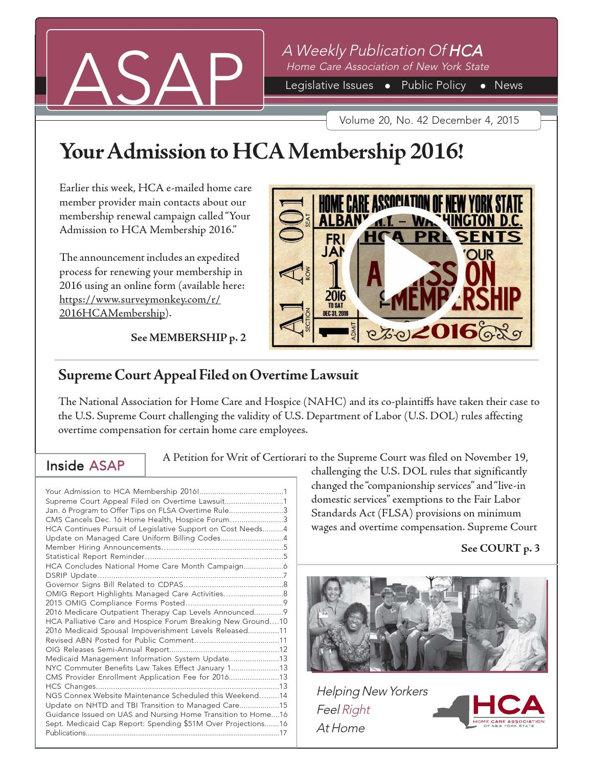 December 4, 2015 Edition of ASAP by Home Care Association ...