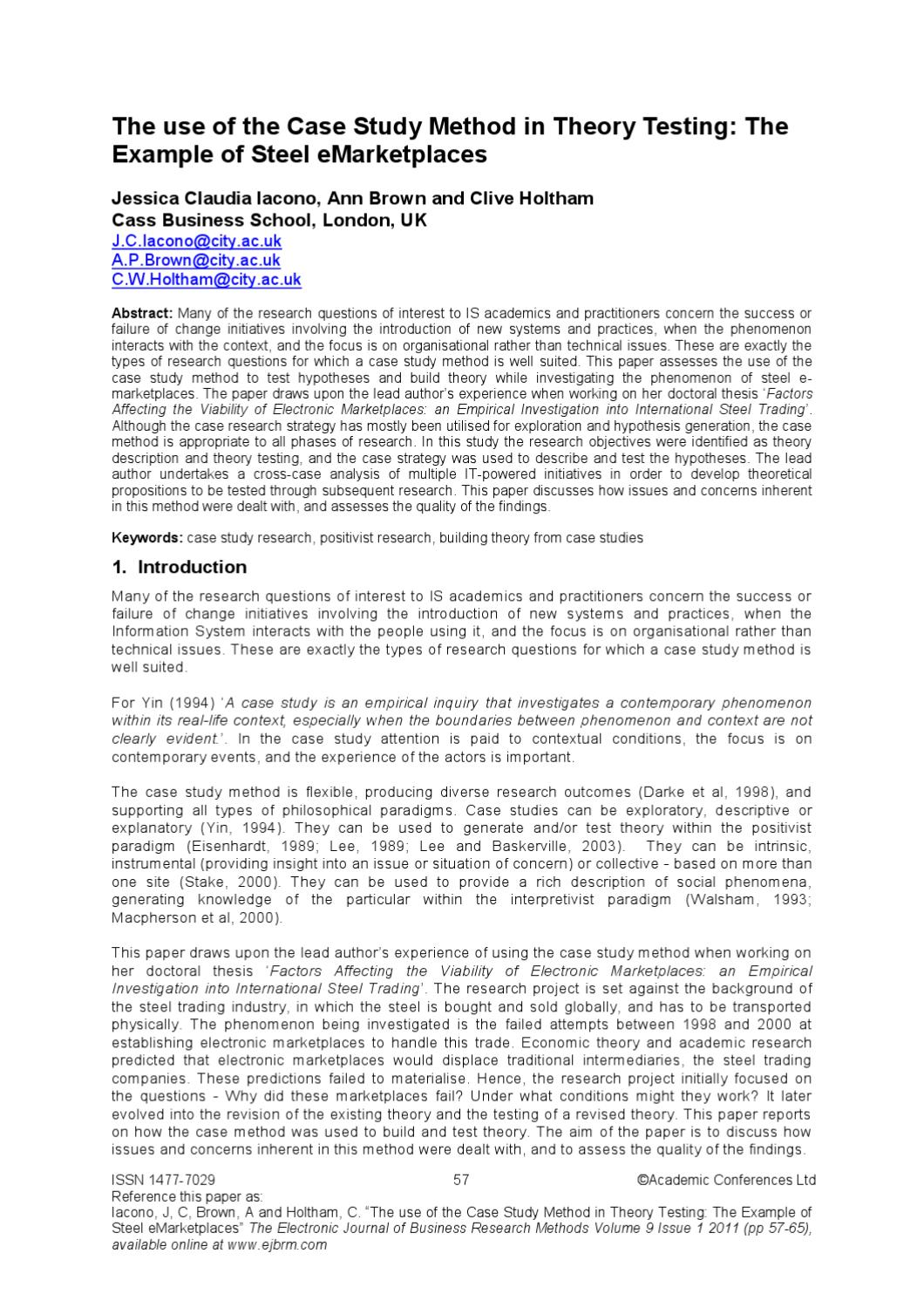 The Use Of The Case Study Method In Theory Testing The