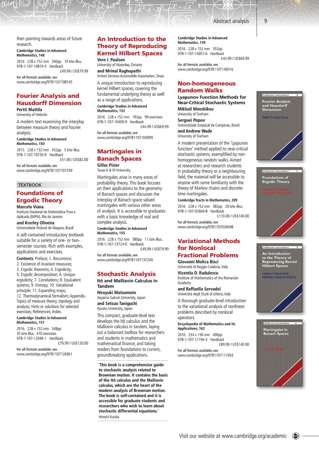 Mathematics Catalogue 2017 By Cambridge University Press