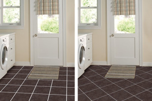 Tile Patterns   Layout Ideas   Tile Lines Two different pictures of the same laundry room with a tile floor  one floor  has