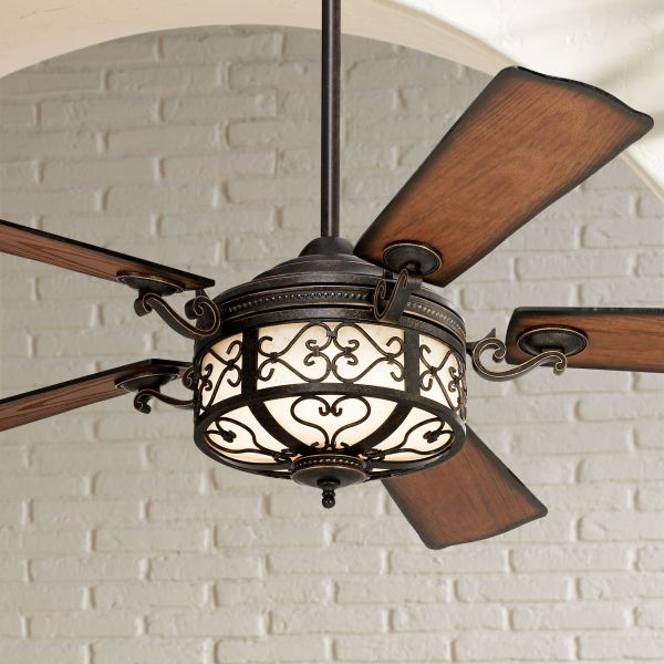 Traditional Ceiling Fans   Classic Comfort   Lamps Plus 54  Hermitage       Golden Forged Outdoor Ceiling Fan