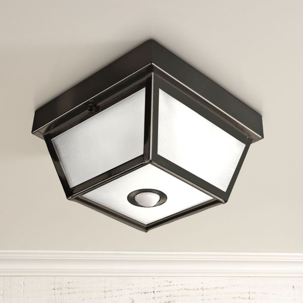 Benson Black 9 1 2  Wide Motion Sensor Outdoor Ceiling Light     Benson Black 9 1 2  Wide Motion Sensor Outdoor Ceiling Light