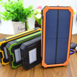 China Solar Power Bank Charger  Solar Power Bank Charger     Solar Battery Charger  Hallomall 15000mAh Portable Phone Charger with 6LED  Flashlight  Dual USB Port