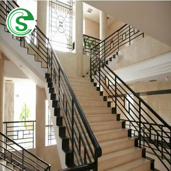 China Elegant Home Stair Railing Design Wrought Iron Balcony Grill   Tubular Design For Stairs   Stainless Steel   Fully Covered Balcony Grill   Fabrication   Simple   Industrial