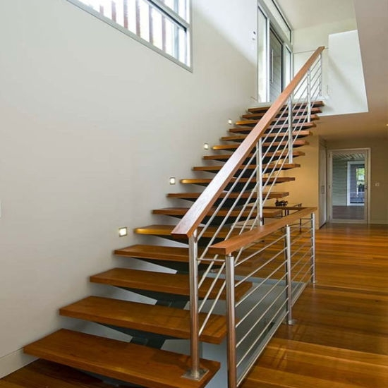 China Hot Sale Wooden Straight Staircase With Glass Balustrade   Wood Stairs For Sale   Cheap   Trailer   Open Tread   Landing   Wooden
