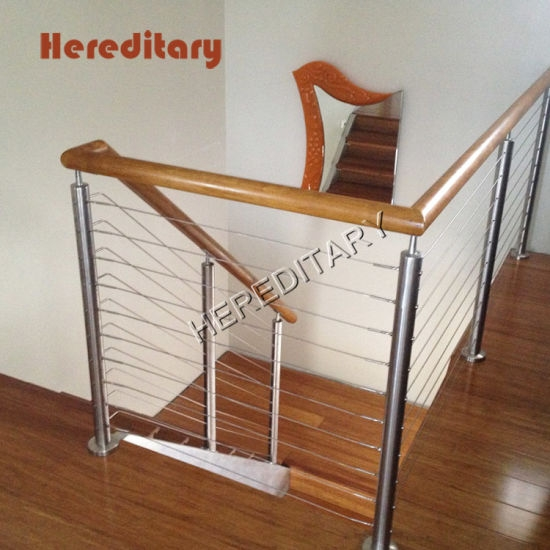 Interior Stainless Steel Balustrade And Wood Stair Railings With | Wood Stair Railings Interior | Cable Stair Railing | Timeless | Before And After | Colonial | 2Nd Floor